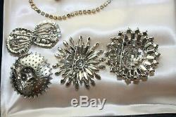 10 pc Vtg Rhinestone Costume Brooch Necklace Ear lot Sherman, Austria, Corocraft