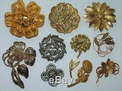100 Flower Jewelry HUGE Lot Vintage-Mod Painted Enamel Pin Brooch Earrings Sets+