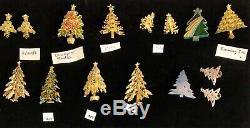100 Vintage Christmas Tree Rhinestone Brooch Pin Lot Mylu Radko Eisenberg Ice RS