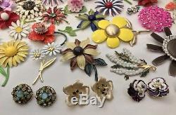100PC Vintage Enamel Flower Power Jewelry LOT Rhinestone Clip On Brooch Bouquet