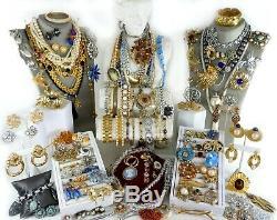 118 Huge Vintage Costume Jewelry Lot Brooch Rhinestone Estate Signed High LBS