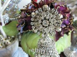 14 MAJESTIC RHINESTONE JEWELRY CHRISTMAS TREE HANDCRAFTED viNtaGe cZeCh BROOCH