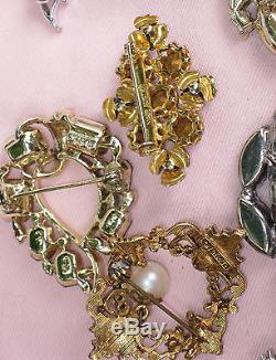15 Old Vtg BIG RHINESTONE BROOCH Necklace STAR Aurora Borealis FLORENZA CARVEN