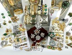 151 Huge Vintage Costume Jewelry Lot Brooch Rhinestone Estate Signed High LBS