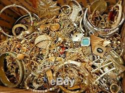 16lb 13oz ALL METAL JUNK JEWELRY LOT wear repair harvest vintage-now rhinestone