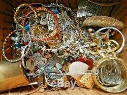 18lb 10oz ALL METAL JUNK JEWELRY LOT wear repair harvest vintage-now rhinestone