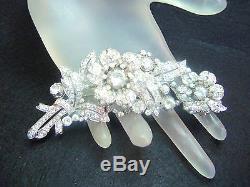 1940 Trifari Trembler Rhinestone Flower Fur Clip Brooch Pin Philippe Figural Vtg
