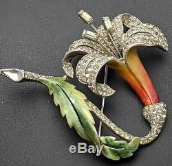 1940s MB Boucher Signed Rhinestone Enamel Lily Fuchsia Flower Brooch Pin Vintage