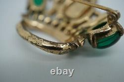 1940s Vintage Coro Craft Sterling Silver 925 Rhinestone Crown Pin Brooch 2