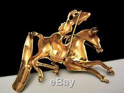 1944 Coro Craft Sterling Persian HORSE MAN PinBOOK PIECEKatz Mongolian Brooch