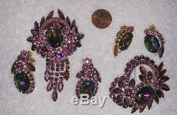 2 Vtg Juliana Purple Fuchsia Watermelon Rhinestone Brooches / Pins & Earrings