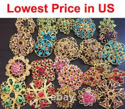 24 pcs Brooch Lot Mixed Multi Color Vintage Gold Rhinestone Crystal Pins Bouquet