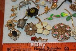 (25) Vintage FLOWER Brooch Pin Lot Enamel Rhinestone Sarah Coventry, Giovanni