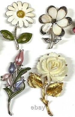 35 pcs Vintage Flower Leave Brooch Pin Rhinestone Enamel Gold Tone Jewelry #PI18