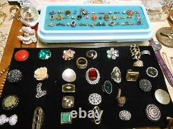 445 Piece Vintage Jewelry Lot RINGS, Brooches, Necklaces, Bracelets, & Much More