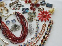51 Huge Vintage Costume Jewelry Lot Brooch Rhinestone Old Estate Signed High End