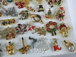 55 Vintage CHRISTMAS Holiday Jewelry Lot Brooches Pins Trees Rhinestone Wreath