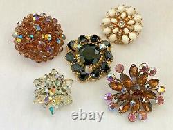 65 Vintage Rhinestone Brooch Lot Kramer Weiss Crown Trifari Eisenberg Sterling