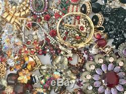 7.8lbs Vintage & Antique Broken Rhinestone Jewelry Lot Craft Repair Brooches etc