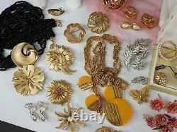 73 Vintage ALL Trifari Jewelry Lot Crown Brooch Necklace Bracelet Rhinestone Set