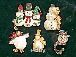 75 Vintage Modern Christmas Brooch Lot Tree Wreath Bells Eisenberg Art Avon JJ