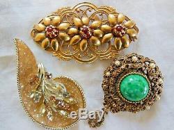 75 Vintage Rhinestone Brooch Lot Weiss Hollycraft Krementz Coro Austria
