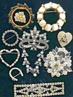75 Vintage Rhinestone Brooch Lot Wiesner Kramer Weiss Dior Trifari Sterling