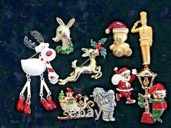 80 Vintage Modern Christmas Brooch Lot Tree Wreath Bells Eisenberg Mylu Coro