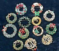 92 Vintage Modern Christmas Brooch Lot Tree Wreath Bells Weiss ART Tancer Hedy