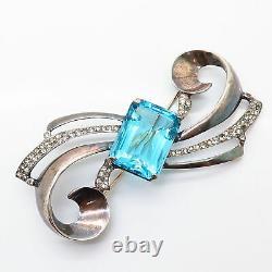 925 Sterling Silver Antique Art-Deco Nordic Rhinestone & Blue Glass Pin Brooch