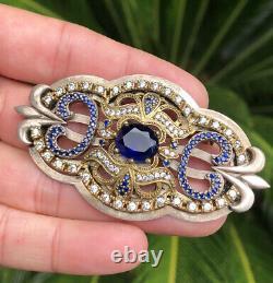 ANTIQUE Art Nouveau Czech Sterling Silver Blue RHINESTONES Brooch Pin
