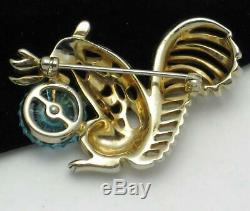 Adorable Vintage Gold Plated Rhinestone Figural Fruit Salad Squirrel Brooch Pin