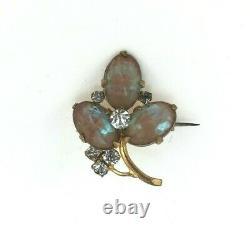 Antique Saphiret Glass Brooch Rare Blue Brown Rhinestones Gold Tone Setting