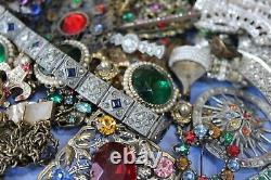 Antique Vintage Art Nouveau Deco Brooch Jewelry Rhinestone Lot Untested 28 Pcs