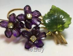 Antique Vintage Suffragette Amethyst Glass Violets Flower Rhinestones Brooch Pin