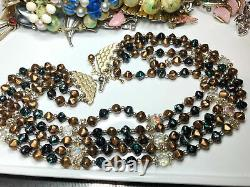 Antique Vintage jewlry lot necklace brooch bracelet earrings rhinestone signed