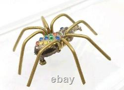 Antique or Vintage Large Spider w Paste Stones Rhinestones Brooch Pin