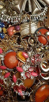 Ap. 15lbs Lot Of Vintage Old Rhinestone Jewelry Crowns Brooches LOTS OF NECKLACES