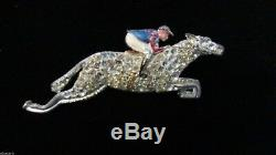 Art Deco Vintage Enamel Rhinestone Horse Brooch Enamel Rider Jockey Figural 1940
