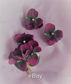 Art Nouveau Vintage Purple Pansy Gypsy Flower Rhinestone Violets Brooch Earring