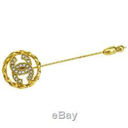 Auth CHANEL CC Logo Rhinestone Pin Brooch Gold-Tone Vintage Accessory 01EJ727