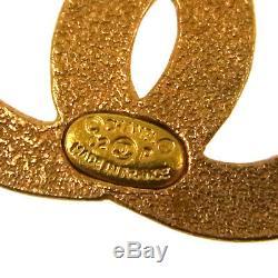 Auth CHANEL Vintage CC Logos Rhinestone Brooch Pin Gold-Tone Corsage AK31465
