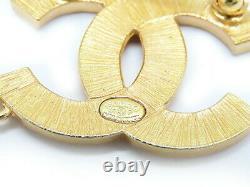 Auth CHANEL vintage cc logo Pearl Pearl Rhinestone Chain Pin Brooch