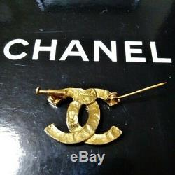 Authentic CHANEL Brooch gold vintage Coco Mark Rhinestone Engraved Genuine