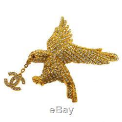 Authentic CHANEL Vintage CC Hawk Motif Brooch Pin Gold-Tone Rhinestone AK25147f
