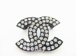 Authentic CHANEL Vintage CC Logo Rhinestone Black Metal Pin Brooch #8014