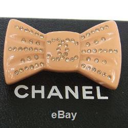 Authentic CHANEL Vintage CC Logos Rhinestone Ribbon Motif Brooch Pin NR10510h