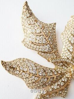 Authentic Christian Dior Gorgeous Massive Leaf Brooch Pin Rhinestones Vintage