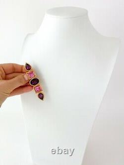 Authentic Ysl Yves Saint Laurent Vintage Brooch Pin Rhinestones Purple Pink