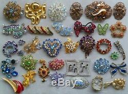 Awesome Estate Vtg Jewelry Rhinestone Brooch/pin Lot Juliana Weiss Ben Amun Coro
